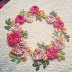 Flower wreath embroidery