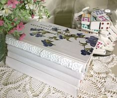 How to paint an old book. Add in IOD transfers and moulds and you have a beautiful book to show off!