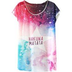 White Womens Crew Neck Colorful Galaxy Printed T-shirt (€10) ❤ liked on Polyvore featuring tops, t-shirts, shirts, galaxy, t shirts, white, crew neck tee, galaxy t shirt, colorful shirts and white t shirt