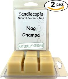 Candlecopia Nag Champa 6.4 oz Scented Wax Melts - Woody notes similar to patchouli, with touches of powder, musk, amber, and vanilla - 2-Pack of naturally strong scented soy wax cubes throw 50  hours of fragrance when melted in Scentsy®, Yankee Candle® or standard electric tart warmer -- For more information, visit image link.
