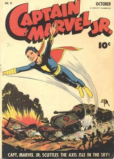 A gallery of Golden Age comic book covers showing superheroes fighting for America in World War II. Captain Marvel Shazam, Mr Marvel, Marvel Comics, Comic Book Pages, Comic Book Covers, Comic Books Art, Comic Art, Comic Book Superheroes, Classic Comics