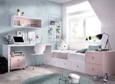 Mundo Joven Children's Bedroom Composition with Bed, Desk and Storage Tiny Bedroom Design, Small Room Design, Girl Bedroom Designs, Room Ideas Bedroom, Small Room Bedroom, Home Room Design, Bedroom Decor, Study Room Decor, Dream Rooms