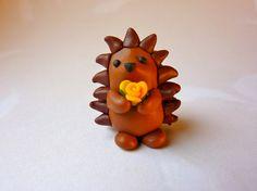 Hedgehog with Flower  Handmade FIMO by GraceAndFlowers on Etsy, $13.30