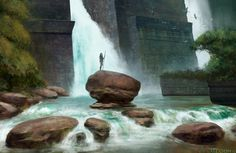 Waterfall by on DeviantArt Fantasy Art Landscapes, Fantasy Landscape, Fantasy Artwork, Environment Concept Art, Environment Design, Concept Art Tutorial, Savage Worlds, Fantasy Places, Fantasy Setting