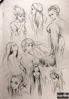 art, drawing, girl, hair