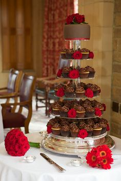Chocolate & Red Rose Wedding Cupcakes by ConsumedbyCake, via Flickr