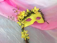 Canary Yellow, Fairy Kissed Flowers, Summer Forest Nymph - Hand Held Masquerade Mask