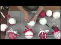 Five simple and pretty ornaments using styrofoam balls and basic craft supplies.  No glue!  I need to find some crafty kids to make these with!