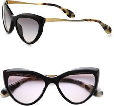78c1e7aa1be40 Miu Miu - Black Plastic Catseye Sunglasses - Lyst