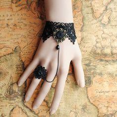 DIY handmade Gothic Lolita - angels and demons lace bracelet - bracelet - wristlet - Rings - Set...Pretty!