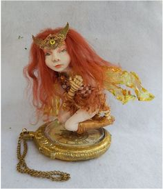 Suki Steampunk OOAK Fairy w/ Watch Fairies Art Doll Sculpture Polymer Clay  #Handmade