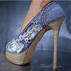 #Chic #Denim Round Toe Thick #Platform High #Heel #Shoes