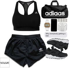 A fashion look from January 2015 featuring adidas activewear shorts, adidas sports bras and… -