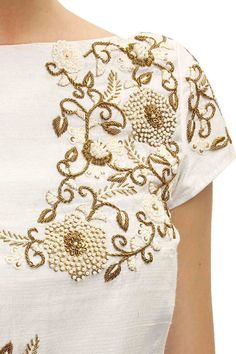 Ivory floral embroidered drape kurta set available only at Pernia's Pop-Up Shop. Embroidery On Kurtis, Kurti Embroidery Design, Bead Embroidery Patterns, Hand Work Embroidery, Indian Embroidery, Shirt Embroidery, Embroidery Fashion, Hand Embroidery Designs, Beaded Embroidery