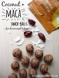 Recipe: Coconut and Maca Snack Balls (for hormonal balance) - Keeping Healthy Ge. , Recipe: Coconut and Maca Snack Balls (for hormonal balance) - Keeping Healthy Ge. Recipe: Coconut and Maca Snack Balls (for hormonal balance) - Keep. Raw Food Recipes, Snack Recipes, Cooking Recipes, Healthy Recipes, Healthy Sweets, Healthy Snacks, Snacking, Superfoods, Hormone Balancing