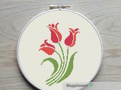 cross stitch pattern tulip, modern tulip, flower decoration, PDF pattern ** instant download**