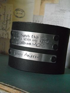So there's this boy, he kinda stole my heart...he calls me MOM Leather Cuff Bracelet with Custom Hand Stamped Metal  - by MyBella