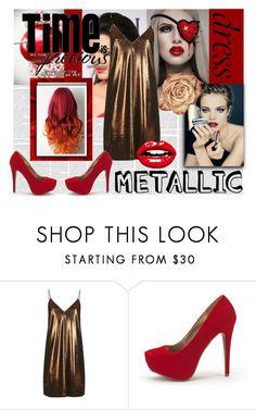 """Metallic Dress"" by eliskaozanikova ❤ liked on Polyvore featuring Topshop"