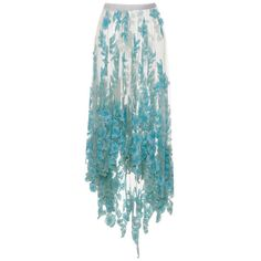 Blumarine Long Tulle Skirt With Blue Sequined Flowers ($11,020) ❤ liked on Polyvore featuring skirts, bottoms, blue, long floral skirts, green skirt, blue sequin skirt, flower print skirt and long tulle skirt