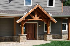 Front Entrance of Home with Timber Trusses