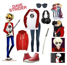 """""""Dave Strider: Homestuck"""" by love-to-create ❤ liked on Polyvore featuring rag & bone, Skullcandy, Converse and WearAll"""