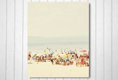 Beach Photography, Nature Photography, Umbrellas, Pastel Colors, Vintage Inspired, Wall Decor, At the Lake - Memories at the Beach (