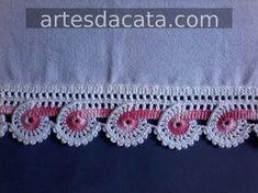 croche | Artes da Cata - Part 4 Crochet Border Patterns, Crochet Basket Pattern, Crochet Designs, Crochet Books, Crochet Yarn, Easy Crochet, Applique Templates, Crochet Videos, Fabric Flowers