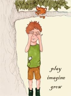 Children's Wall Art  Play Imagine Grow by RoseHillDesignStudio, $20.00