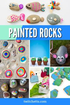 Fun rock painting ideas for kids of all ages. Create easy painted rocks with these simple stone painting tutorials. #twitchetts #rockpainting Rock Painting Ideas Easy, Rock Painting Designs, Painting For Kids, Rock Crafts, Craft Stick Crafts, Easy Crafts For Kids, Diy For Kids, Painted Rocks Craft, Recycled Crafts