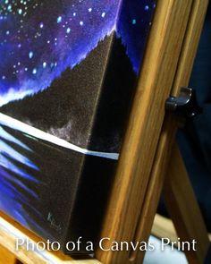 Pintura surrealista de costa oeste, basado en una memoria de acampar en una tormenta en la costa oeste un camino de la isla de Vancouver. Mi giclees profesionalmente impresas en lona de alta calidad se extendía y envuelto alrededor de 1.5 de barras de madera del ensanchador, listos para