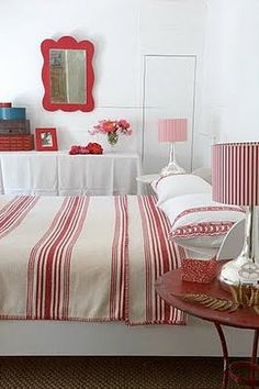 Katrin Cargill Interior Design Red White Bedroom Love The Mirror