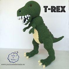 """Dinosaurio T-Rex Amigurumi - Patrón Gratis en Español -Formato en PDF click """"download"""""""