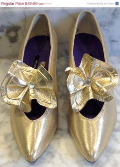 50% OFF SALE Gold Lame Shoe with a Gold and Rhinestone Flower