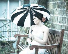 Monochrome Black and White Pagoda Style Umbrella