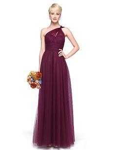 9ec3c3b9a26 A-Line One Shoulder Floor Length Chiffon Bridesmaid Dress with Pleats by  LAN TING BRIDE®