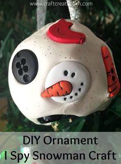 DIY Christmas ornament i spy snowman craft. Cute snowball with snowman parts for an i spy activity.