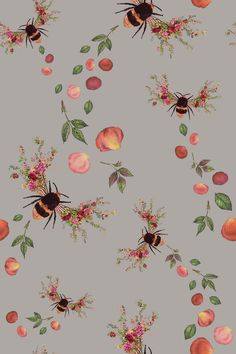 Bee Bloom by Hattie Lloyd - Silver - Wallpaper : Wallpaper Direct Flowery Wallpaper, Silver Wallpaper, Spring Wallpaper, Paper Wallpaper, Cute Wallpaper Backgrounds, Cute Wallpapers, Iphone Wallpaper, Cottage Wallpaper, Fantastic Wallpapers