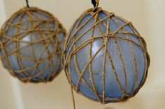 How to make twine twinkling light holders. This is an easy, albeit messy DIY, but nonetheless makes  porch or special room look really cool on the cheap.