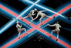 Day sevenA double exposure during the Great Britain v China team foil fencing…