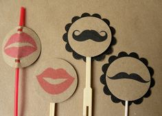 mustache and lips cake toppers :)