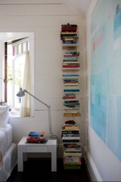 making room for books, contemporary vertical bookshelf, by Chris Court Photography Vertical Bookshelf, Floating Bookshelves, Book Shelves, Australian Interior Design, Home Libraries, Interior Design Magazine, Stack Of Books, Kid Spaces, Decoration