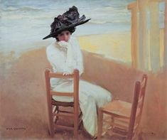Cecilio Pla y Gallardo Spanish Painter Portrait of Lady on the Beach Art Nouveau, Art Deco, Belle Epoque, The Age Of Innocence, Impressionist Artists, Spanish Painters, 1920s Art, Art Station, Beach Art