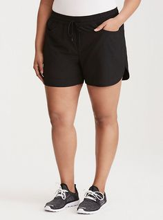 $43 | Plus Size Torrid Active - Running Shorts, DEEP BLACK | Torrid