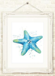 A personal favorite from my Etsy shop https://www.etsy.com/listing/290189497/beach-art-starfish-watercolor-print