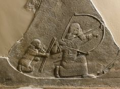 Ashurnasirpal II waits in a pit with a bow and shoots the leader of a group of gazelle down, alabaster wall panel relief, North Palace, Kouyunjik, Nineveh, Iraq, neo-assyrian, 645BC-635BC