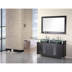 Photo Image Design Element Redondo Espresso Finish Double Sink Bathroom Vanity Set DECD