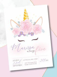 Unicorn Birthday Invitations, Little Girl Birthday, Rsvp, Mystic, Birthday Parties, Colours, Floral, Prints, Artwork