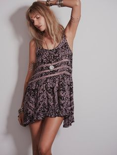 Free People Printed Voile and Lace Slip, $88.00