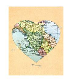 Tuscany Italy Antique Map of Tuscany TuscanyAgriturismoGiratola