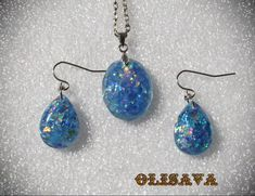 SALE...Resin glitter earrings and Pendant Resin Jewelry